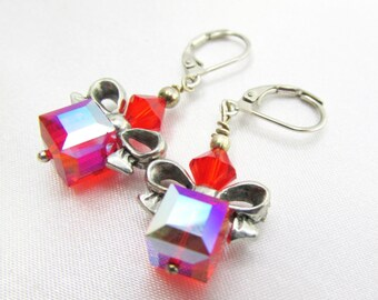 SALE 25% off! Red Siam AB Cube Christmas Holiday Present earrings in silver or gold