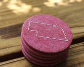 Nebraska - Embroidered Recycled Fabric Magnet - Vintage Red