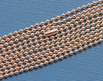 "5 Rose Gold Plated Ball Chain Necklaces 27 1/2"" - Easily Cut to Length - Great Quality N49"