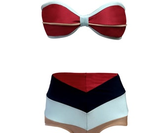 CUSTOMIZEABLE Swimmies---- Bandeau Corset and Chevron Hi Waist Set