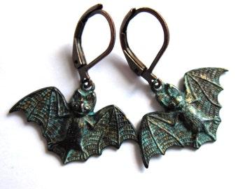 Dark Patina Flying Bat Earrings Fashion Jewelry