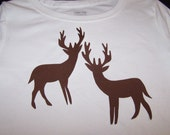 """Deer Iron on Silhouette 5"""" Tall Pair - Select Either Black or Brown - Choose At Checkout- Iron On Applique."""