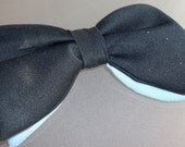 Black and Baby Blue Clip-On Bow Tie, Vintage Accessory, Double Decker, Two Colors, Formal Wear, Prom, Prop