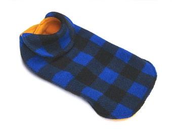 dog coat, small dog coat, plaid dog coat, fleece dog coat, reversible dog coat  - pet coat  - dog jacket -  back length 12 in. (30,5 cm )