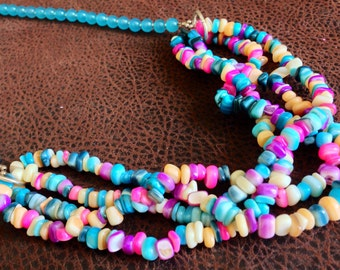 Multicolored multistrand necklace