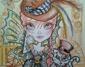 The Cat and the Steampunk Girl Art Print fantasy victorian goth