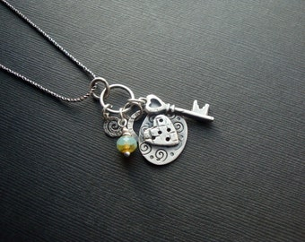 Heart and Key Charm Set Pendant Sterling and Fine Silver