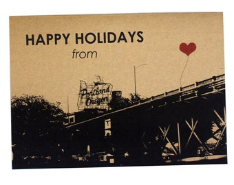 Happy Holidays from Portland, Oregon set of 8 note cards Stag Sign