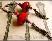 Richly Red Art Deco Earrings, Ruby Red Art Glass Art Deco Earrings, Downton Abbey Red Earrings, Czech Art Glass Red Earrings, Romantic Red