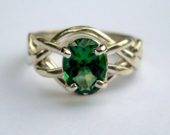 Sterling Silver 4 Band Puzzle Ring set with Rainforest Green Topaz Faceted Stone