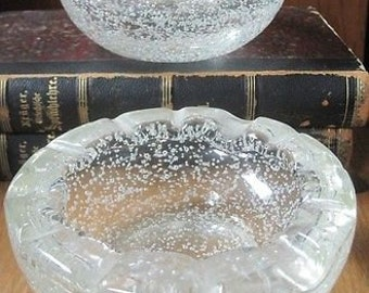 Daum Nancy France Pair of ashtrays Controlled Bubble Vintage Art Glass Signed