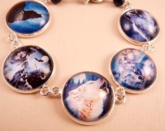 Wolf Bracelet Glass Tile Bracelet Glass Tile Jewelry Wolf Jewelry Beaded Jewelry Blue Bracelet Silver Jewelry Animal Jewelry