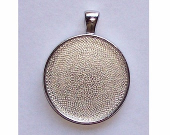 30mm Silver Setting round setting with Bail pendant tray mount or bezel fill with resin stones cabochons or cameos very sturdy setting 575x