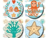 Under the Sea digital collage sheet nautical 1 inch circles. Printable blue  fish, seahorse, starfish, shell, dolphin, crab, turtle, hearts