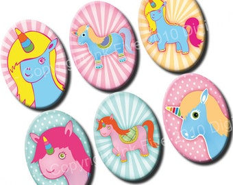 Unicorns 18x25 mm ovals. Fairy pony digital collage sheet for 18 x 25 mm cabochons, pendants, cameos. Cartoon digital download images