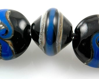 Handmade Lampwork Beads Wedgewood Blue & Black Set SRA S0284