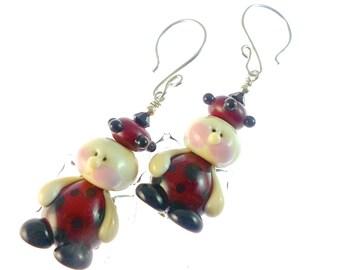 Fairy Earrings, Unique Earrings,  Red Lampwork Earrings, Ladybug Earrings, Glass Bead Earrings, Beadwork Earrings, Lampwork Jewelry