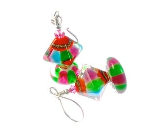 Handmade Lampwork Earrings, Handmade Glass Bead Earrings, Orange Green Pink Blue Earrings, Lampwork Jewelry, Beadwork Earring, Drop Earrings