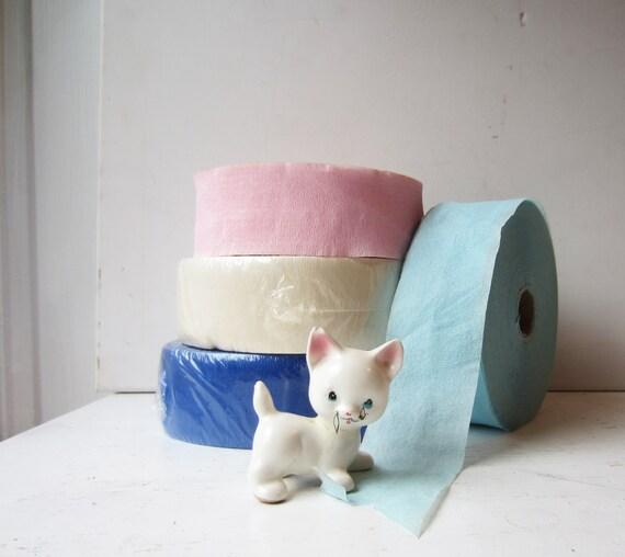Vintage Crepe Paper Rolls Pink, White, Light Blue and Blue - Dennison