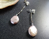 Earring Jackets Posts or Studs Pink White Coin Pearl Sterling Silver Bridal Silver Bridesmaid