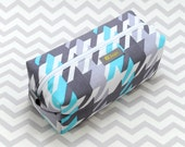 Small Box Bag, Cosmetic Bag or Pencil Case - Turquoise