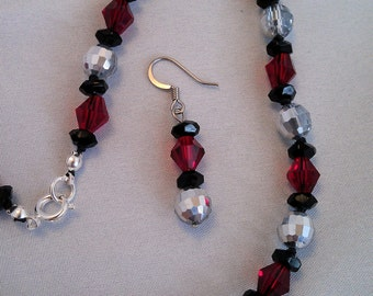Red, Black and Silver Glass Necklace and Earrings