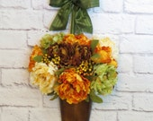 Fall Wreath, Metal Wall Pocket, Autumn Decor,  Floral Wall Arrangement, Peonies