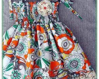 Colorful flowered dress for little girls, Easter Dress for girls, ruched dress, girls halter dress, Girls birthday dress, Lined dress