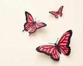 3D wall butterflies: Butterfly wall art, illustrated Oaxacan-style butterflies in strawberry pink, spring decor