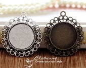 6Pcs 25mm  Antique Bronze/Antique Silver/ Cabochon Setting Cameo Base frame Base for making necklaces and pendants(SETHY-206)