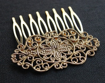 2Pcs Wholesale High Quality Gold plated Brass Filigree hair comb Setting Nickel Free Lead Free(COMBSS-18)