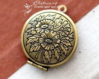 5pcs Raw Brass Vintage Antiqued Bronze Locket Pendant  Charms/Pendants- 27 mm ×32mm (LOCK-72)