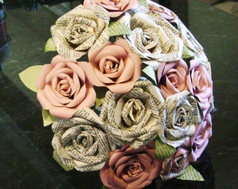Vintage Bible page paper roses  and pastel pink paper roses with leaves wedding bouquet or toss bouquet