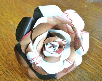 basketball diagram paper rose in warm brown and cream and cocoa brown recycled pages for a sports fan