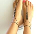 Barefoot Sandals, black, wedding, Bikini, Women, Beach, Bridal Sandals, Bridal Jewelry, shoes, READY TO SHIP