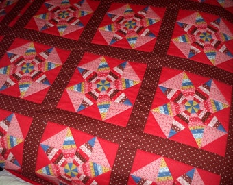 1970's Quilt Handmade Crazy Primitive Rustic Calico Stars Hand Quilted Stitched Colorful Vintage Bedspread Comforter