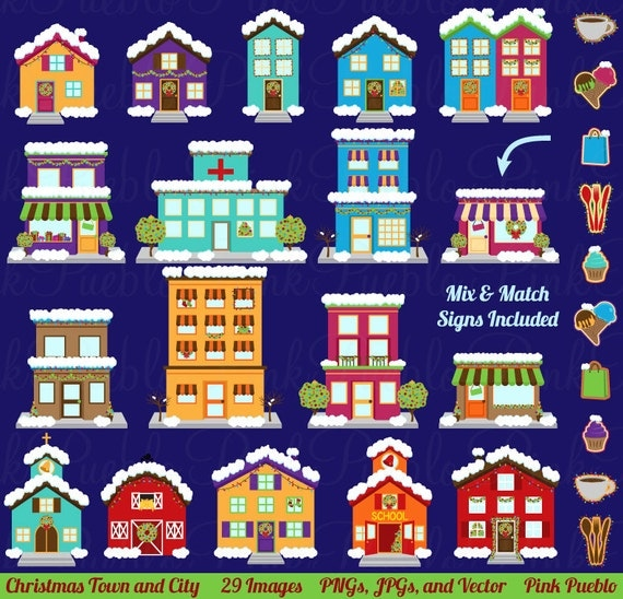 Winter and christmas village clipart clip art printable house