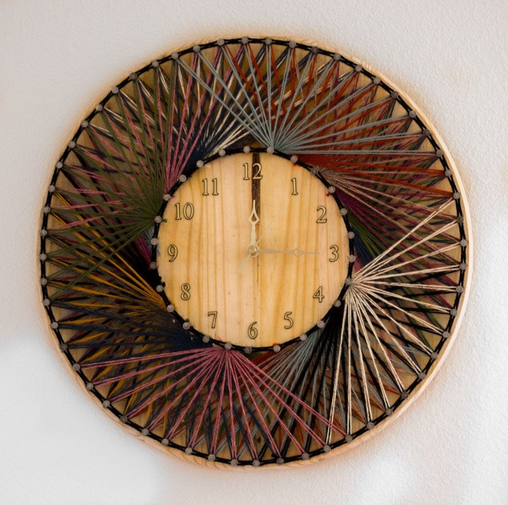 String art clock wood wall clocks hand made home decor zoom amipublicfo Image collections