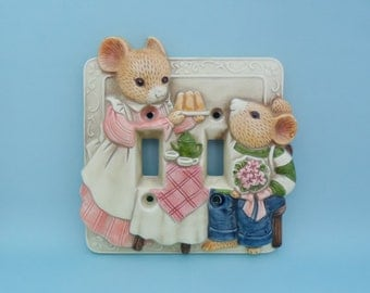 Vintage Takahashi Storybook Mice Kitchen Double Light Switch Plate Cover