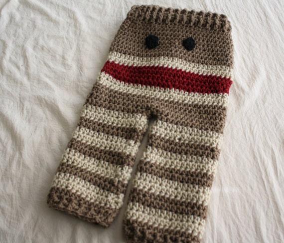 Free Crochet Pattern For Sock Monkey Pants : PATTERN Crochet Monkey Baby Pants PATTERN Baby by ...