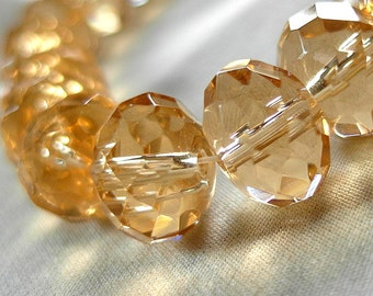 """Large 14mm Faceted Soft Citrine Yellow Crystal Rondelle Beads, large 14mm x 10mm, 34 pieces, 13"""" long"""