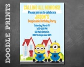 "Printable Minion Birthday Party Invitation - Customized Minion Invitation Party ""Despicable Me Minions at the Neighborhood"" 5x7"""