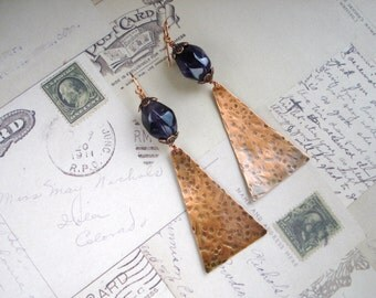 Amethyst and Copper Triangle Sheet Metal Earrings