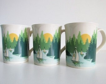 Vintage Otagiri Sailing/Outdoors Scene Serving Mugs