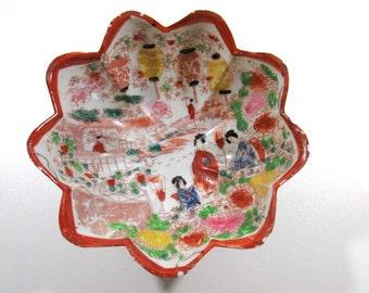 Vintage Hand-Painted Porcelain Pedestal Bowl