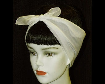 Off White Rockabilly 50's Style Hair n' Neck Chiffon Scarf