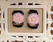 Barefoot Sandals (light pink and blk polkadot)
