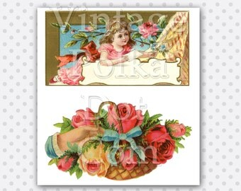 Clip Art Victorian Basket of Flowers Child and Roses Digital Collage Clipart Graphics Printable Digital Instant Download Vintage Pink