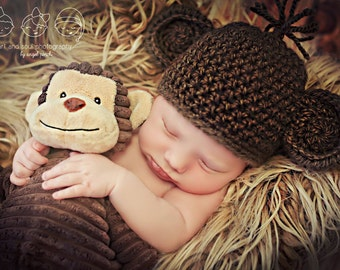Newborn Photo Prop Baby Monkey Hat