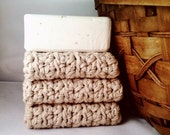 Set of 3: Premium Handmade Cotton Washcloths - Oatmeal
